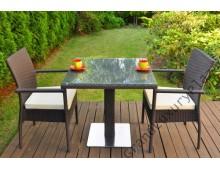 Tavolo in Rattan S80 con 2 sedie