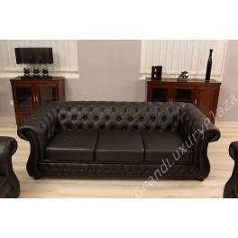 Salotto divano poltrone sof in pelle per ufficio studio casa salone - Divano in pelle nero ...