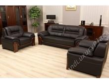 """Completo divano in pelle """"PALLADIO"""" Nero"""